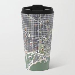 Barcelona city map engraving Travel Mug