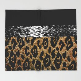 ANIMAL PRINT BLACK AND BROWN Throw Blanket