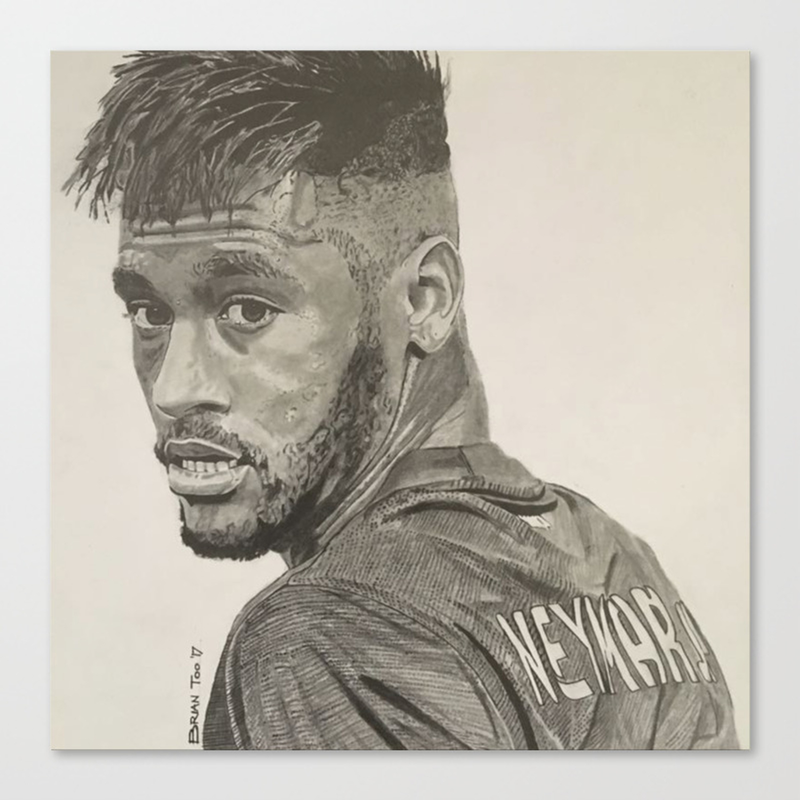 Neymar jr graphite pencil drawing canvas print