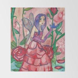 Fairy Of Roses Throw Blanket