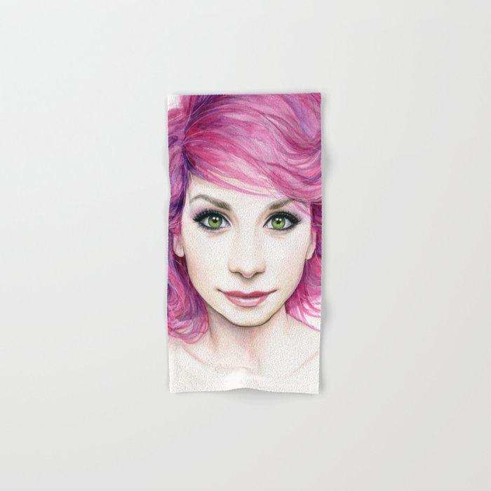 Pink Hair Green Eyes Beautiful Girl Hand & Bath Towel