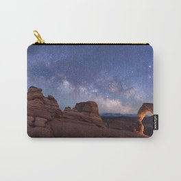 Delicate Arch Under the Starry Sky in Arches National Park Panorama Carry-All Pouch