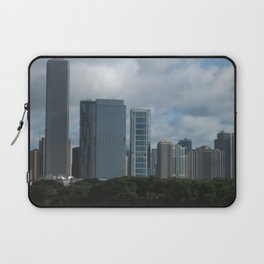 Chicago Skyline, Cloudy Day in Chicago Laptop Sleeve