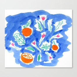 Oranges and Flowers in Blue Canvas Print