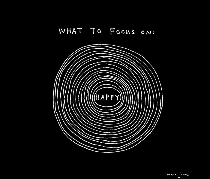 What to focus on - Happy (on black) Metal Travel Mug