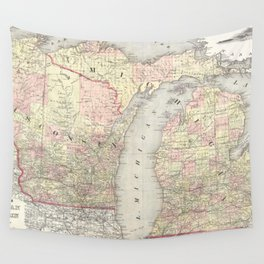 Vintage Map of Michigan & Wisconsin (1862) Wall Tapestry