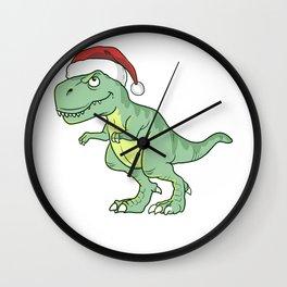 Christmas T Rex Wearing Santa Claus Hat Holiday Shirt Wall Clock
