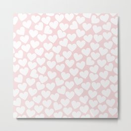 Pink & White - Valentine Love Heart Pattern - Mix & Match with Simplicty of life Metal Print