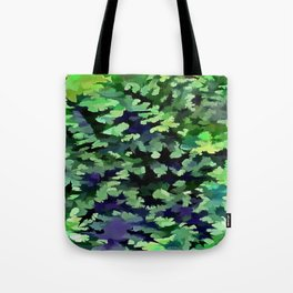 Foliage Abstract Camouflage In Forest Green and Black Tote Bag
