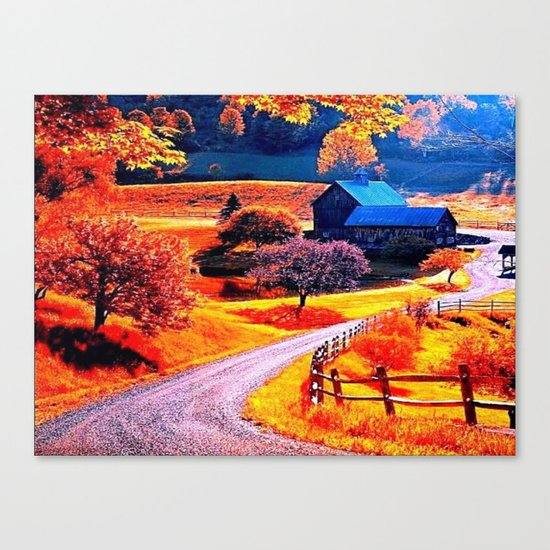 Farmhouse In Autumn Canvas Print