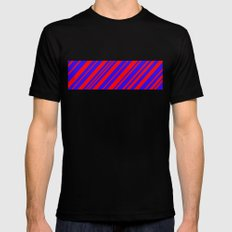 Lines 323 - Blue and Red Diagonals MEDIUM Mens Fitted Tee Black
