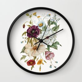 Colorful Wildflower Bouquet on White Wall Clock