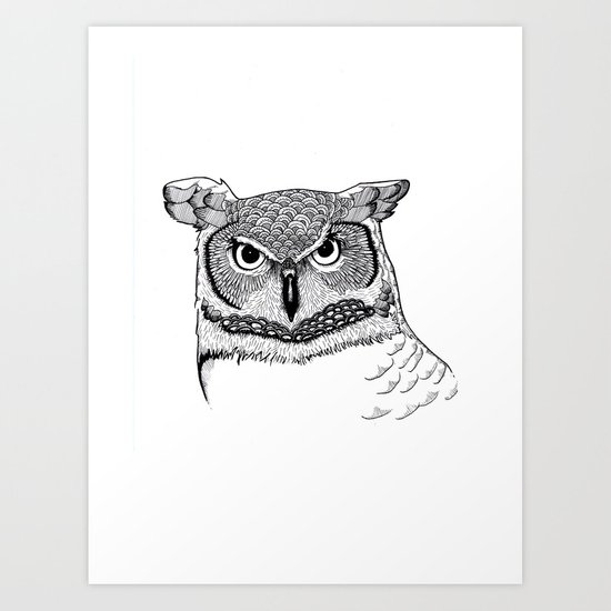 Black white owl art print by alexandradescotes society6