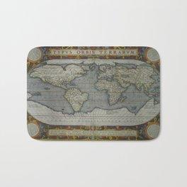 Vintage Map of The World (1595) 2 Bath Mat