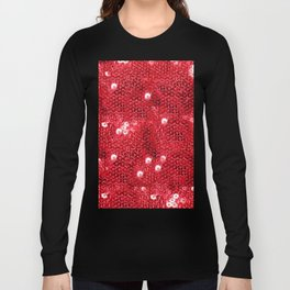 Faux Red Sequin Background Long Sleeve T-shirt