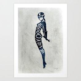 """Va-Va-Voom """"Lucy"""" Motorcycle Pin Up Girl Art Print"""
