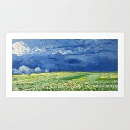 Wheatfield under thunderclouds by Vincent van Gogh Art Print