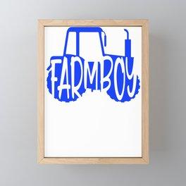 Farmer Gift Home Farm Boy Blue Tractor Farming Gift Framed Mini Art Print