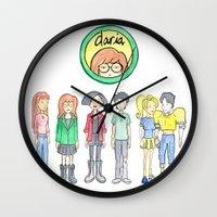 daria Wall Clocks featuring Daria and Friends by Monique Cutajar