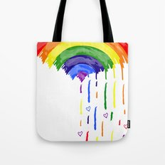 Love Rainbow Rain Tote Bag