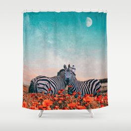 Zebras in a flower field Shower Curtain