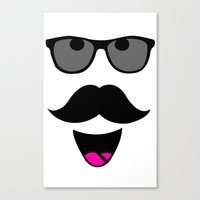 mustache Canvas Prints featuring Mustache by siti fadillah