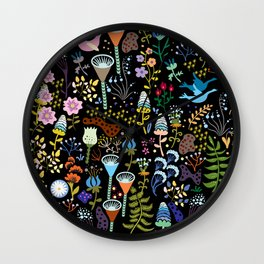 Seamless pattern with bright multicolored decorative flowers on a black background Wall Clock