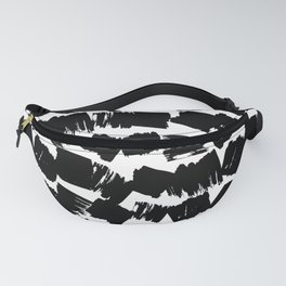Scandinavian Abstract grunge pattern retro style, paint strokes, black on white Fanny Pack