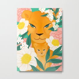 Mother Lion and Cub I Metal Print