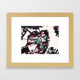 Abstract Map- Boston Harbor Framed Art Print
