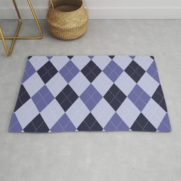 Blue Argyle Pattern Rug
