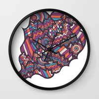 socks Wall Clocks featuring Darning socks by J. Fuller