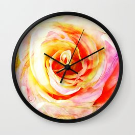 Pink and Yellow Rose Flower Wall Clock