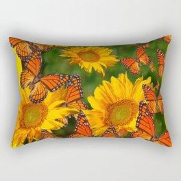 MONARCH BUTTERFLIES YELLOW SUNFLOWERS  GREEN ART Rectangular Pillow