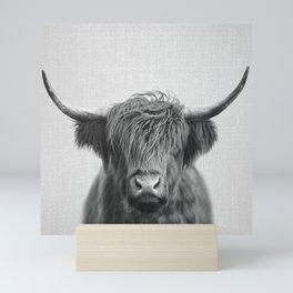 Highland Cow - Black & White Mini Art Print