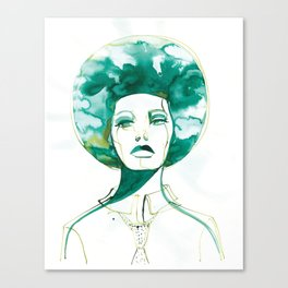 Green Afro Queen Canvas Print