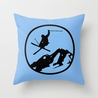 skiing Throw Pillows featuring skiing 3 by Paul Simms