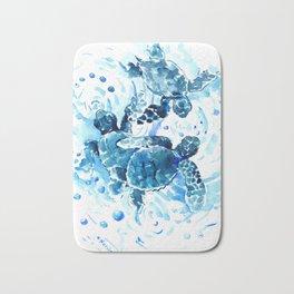 Three Sea Turtles, blue bathroom turtle artwork, Underwater Bath Mat