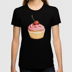 The Perfect Pink Cupcake LARGE Black Womens Fitted Tee