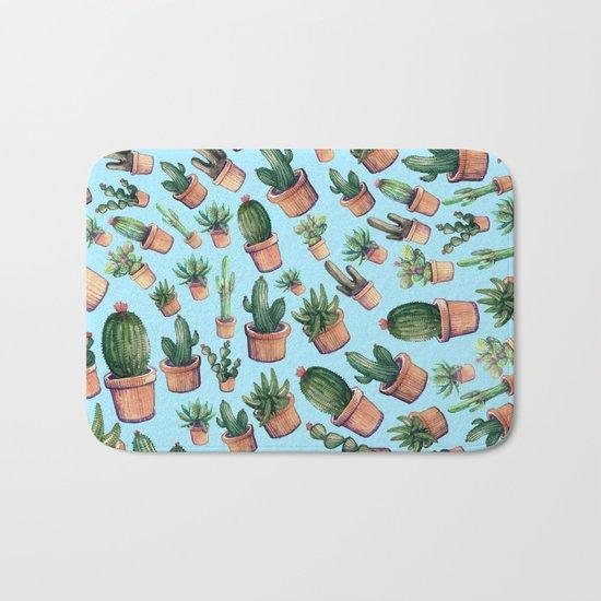Blue cactus invasion Bath Mat