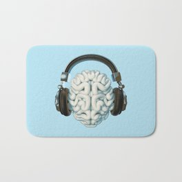 Mind Music Connection /3D render of human brain wearing headphones Bath Mat