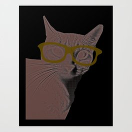 Yoshi Cat Glasses Art Print