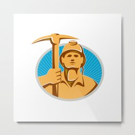 Coal Miner With Pick Ax Hardhat Front Retro Metal Print