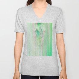 Abstract Cascade Glitch 1.Green Unisex V-Neck