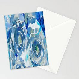 Sky Blue Painterly Floral Abstract Stationery Cards