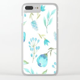 Blue watercolor flowers Clear iPhone Case