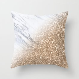 Bronze Copper Sparkles on Gray and White Marble II Throw Pillow