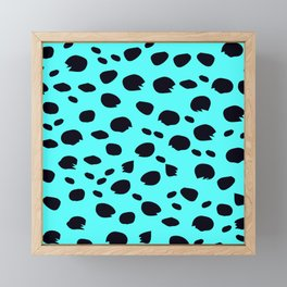 Fantasy Faux Leopard Print in Aqua Blue Framed Mini Art Print