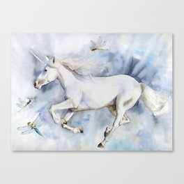 Unicorn in the Clouds, Dragonflies Canvas Print