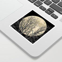 Tree with Crow Against Full Moon A181 Sticker
